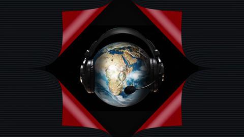 Globe wearing a headset Animation