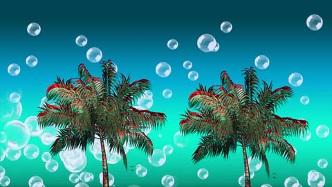 Colorful palm trees and bubbles Animation
