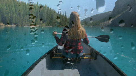 Woman boating in a lake Animation