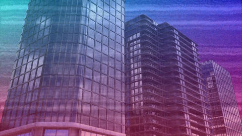 Colorful static and buildings Animation