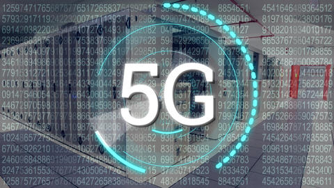 5G written in the middle of a futuristic circles and numbers Animation