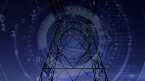 Power line tower and futuristic circles with binary codes Animation