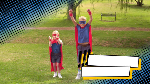 Siblings wearing superhero costumes at a park Animation