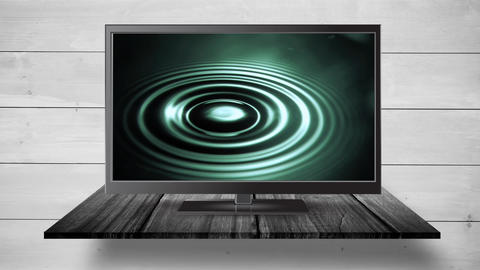 Flat screen TV with ripples of waterq Animation
