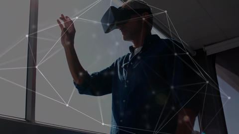 Man wearing a virtual reality headset while swiping his finger in the air Animation