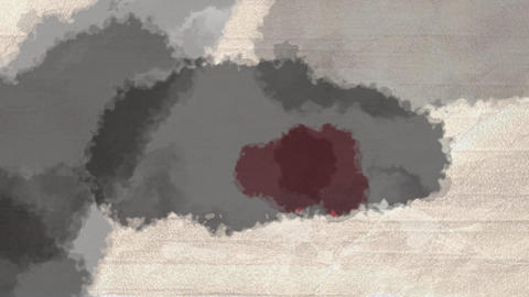 Grey and red watercolor spreading on paper Animation