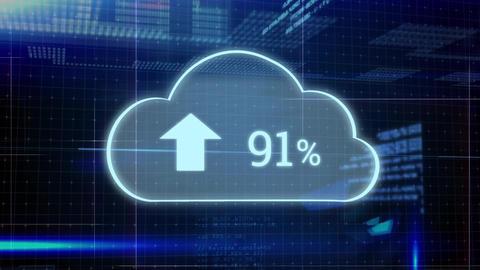 Upload progress cloud and program code Animation