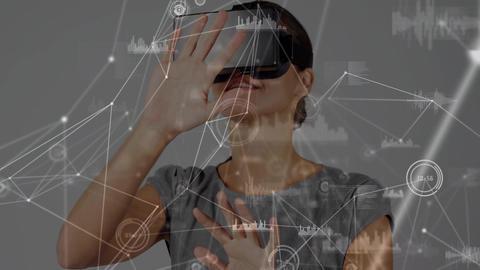 Woman wearing a virtual reality headset swiping Animation