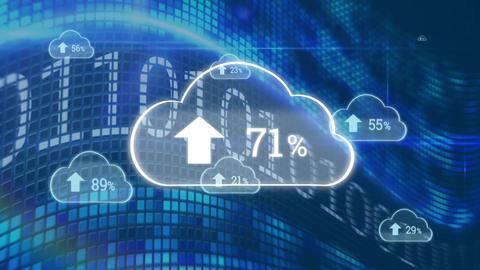 Upload progress cloud and binary codes Animation