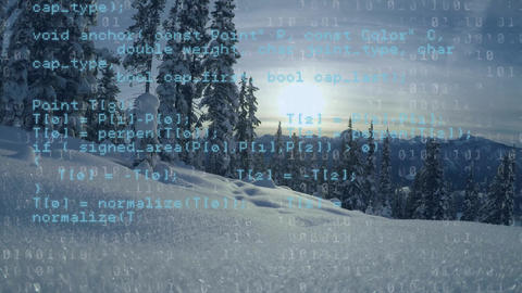 Program codes and snowy mountain Animation