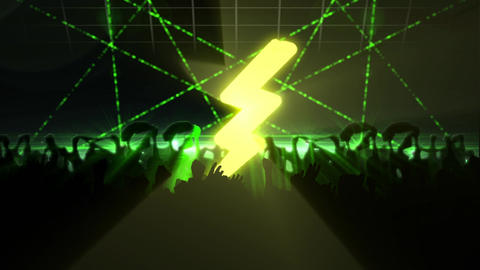 Silhouette of people partying at a club with green laser lights Animation