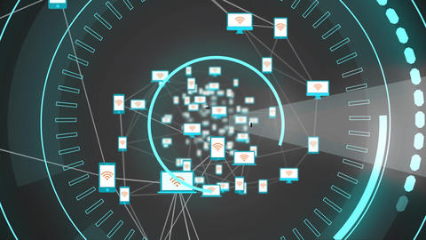 Devices with wifi logo and 5G written in the middle of a futuristic circles Animation