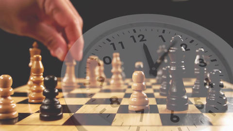 Man playing chess and a clock Animation