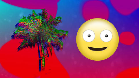 Winking emoji beside a palm tree and colorful liquid Animation