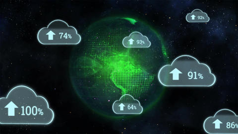 Upload progress clouds and globe Animation