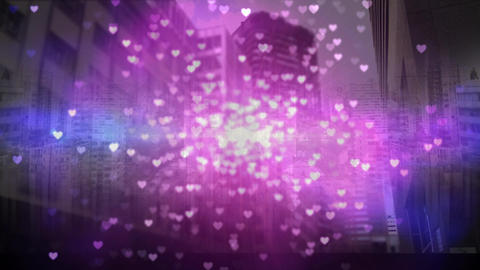 Tall city buildings with hearts, Stock Animation