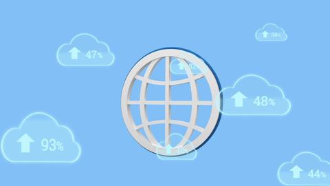 Upload progress clouds and globe icon Animation