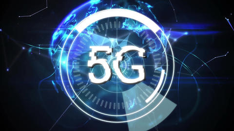 5G written in the middle of a futuristic circles and abstract shapes Animation