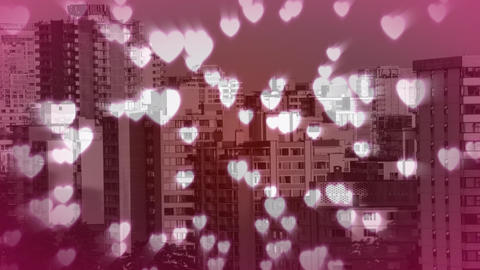 Tall buildings filled with hearts Animation