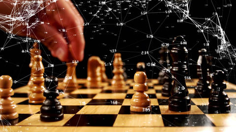 Man playing chess and asymmetrical lines Animation
