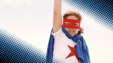 Boy wearing a superhero costume Animation