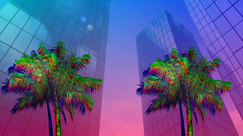 Palm trees and buildings Animation