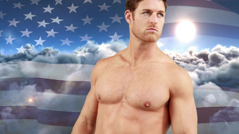 Naked man with athletic body and the American flag Animation