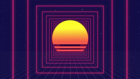 Digital sun and futuristic squares Animation