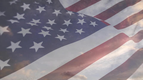 Clear sky with an American flag waving Animation