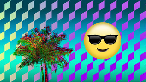 Face with sunglasses emoji and palm tree Animation