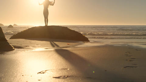 Silhouette of a woman spreading arms at the beach Animation