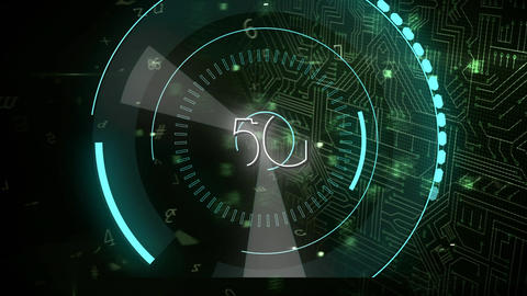 5G written in the middle of a futuristic circles and futuristic circuit with lock Animation