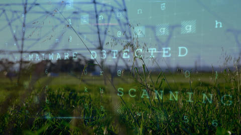 Cyber security words and a field with power line towers Animation