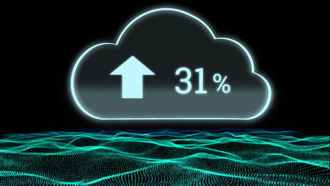 Upload progress cloud and land graph Animation