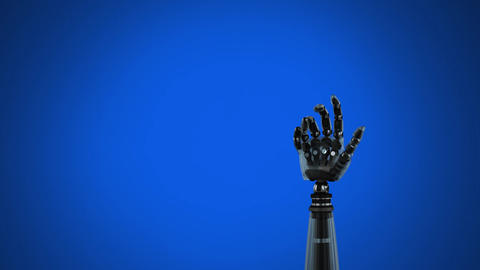 Robot arm on a blue background Animation