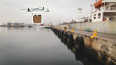 Drone carrying a package over a port Animation