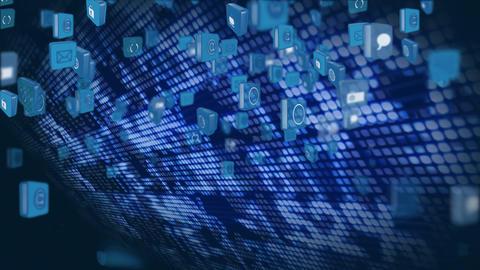 Internet symbols and icons flying up Animation