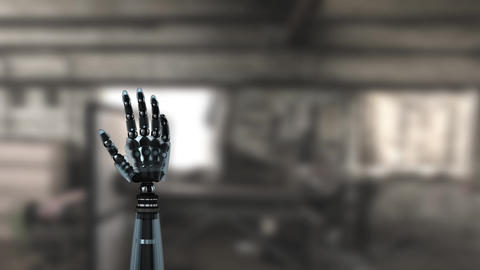Robot arm in a bright blurry background Animation