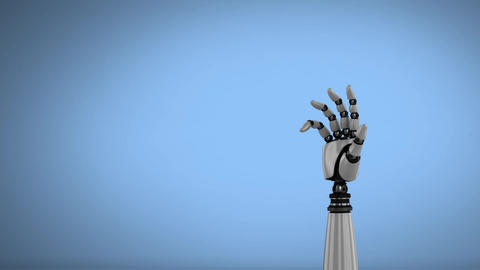 Robot hand on a sky blue background Animation