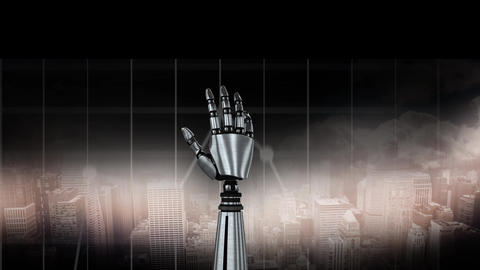 Robot hand with a city background Animation