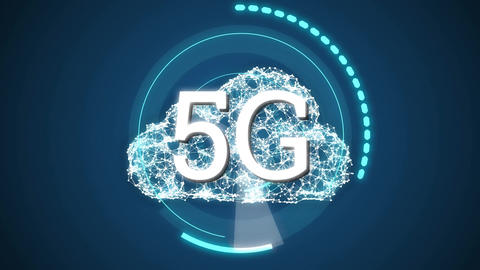 5G written in the middle of a futuristic circles 4k Animation