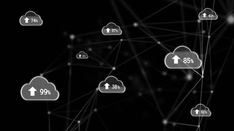 Digital cloud and block chain technology Animation