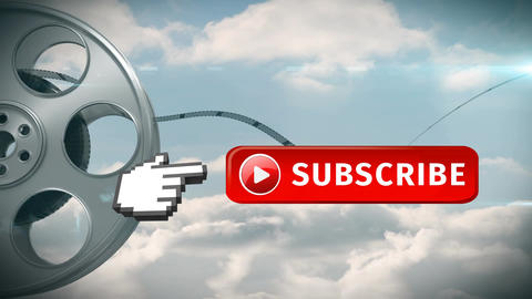 Subscribe button with a pointing hand for social media Animation