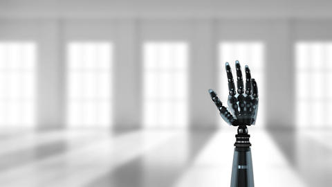 Robot hand in an empty hall Animation