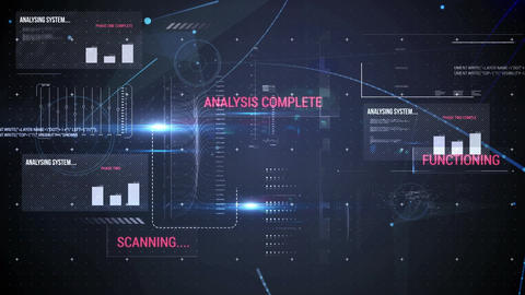 Screen filled with computer codes and graphs Animation