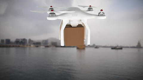 Animation of drone carrying a package Animation