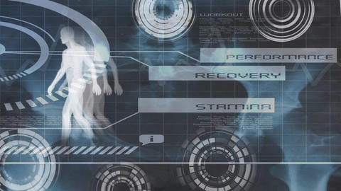 Digital human body with workout information and labels such as Performance, Recovery, and Stamina Animation
