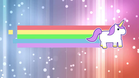 Unicorn with rainbow and bright lights Animation