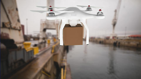 Drone carrying a package for delivery Animation