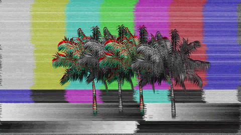 Flickering image of palm trees on a TV screen Animation